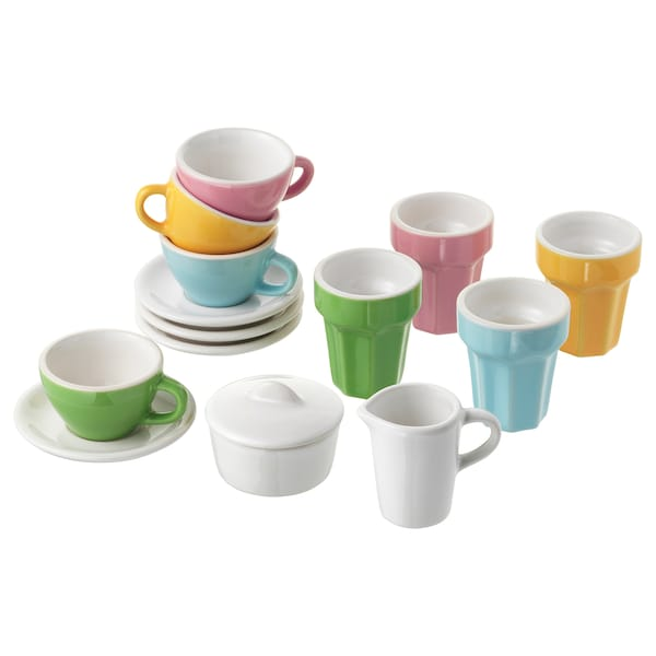 DUKTIG 10-piece coffee/tea set, multicolour