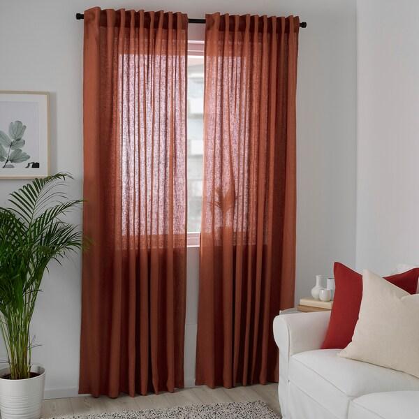 DYTÅG Curtains, 1 pair, red-brown, 145x250 cm