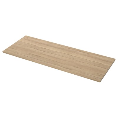 EKBACKEN Worktop, light oak effect, 186x104x2.8 cm