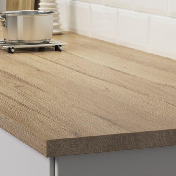 EKBACKEN Worktop, light oak effect, 186x104x2.8 cm
