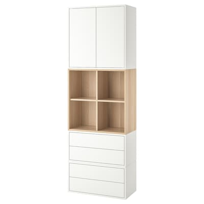 EKET Cabinet combination with feet, white/white stained oak effect, 70x35x212 cm