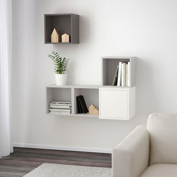 EKET Wall-mounted cabinet combination, white/light grey/dark grey, 105x35x120 cm