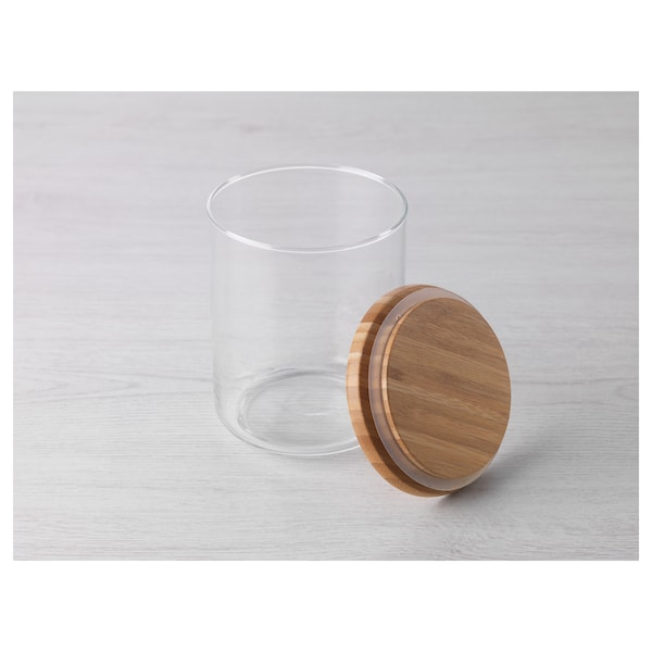 EKLATANT Jar with lid, clear glass/bamboo, 0.8 l