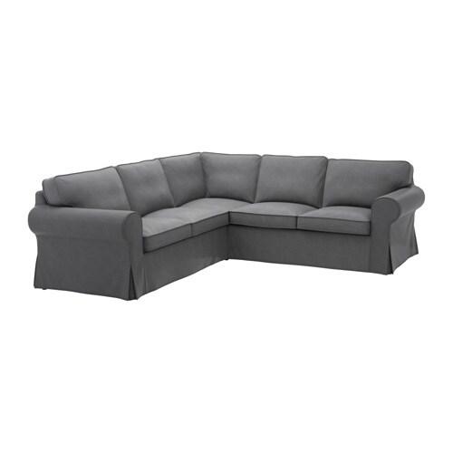 Ektorp corner sofa 2 2 nordvalla dark grey ikea for Schlafsofa ektorp
