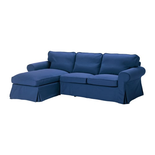 EKTORP Two-seat sofa and chaise longue blue Width: 252 cm Min. depth: 88 cm Max. depth: 163 cm Height: 88 cm Seat height: 45 cm
