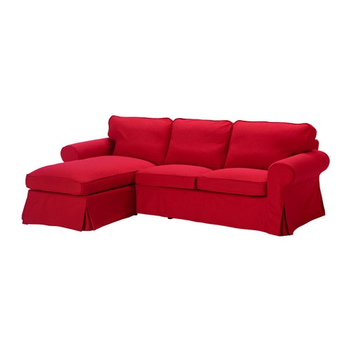 Ektorp two seat sofa and chaise longue idemo red ikea - Chaise ikea plastique ...