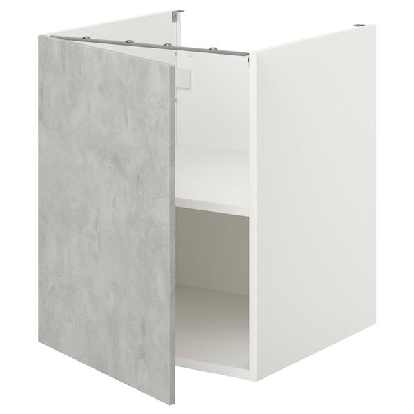 ENHET Bc w shlf/door, white/concrete effect, 60x60x75 cm