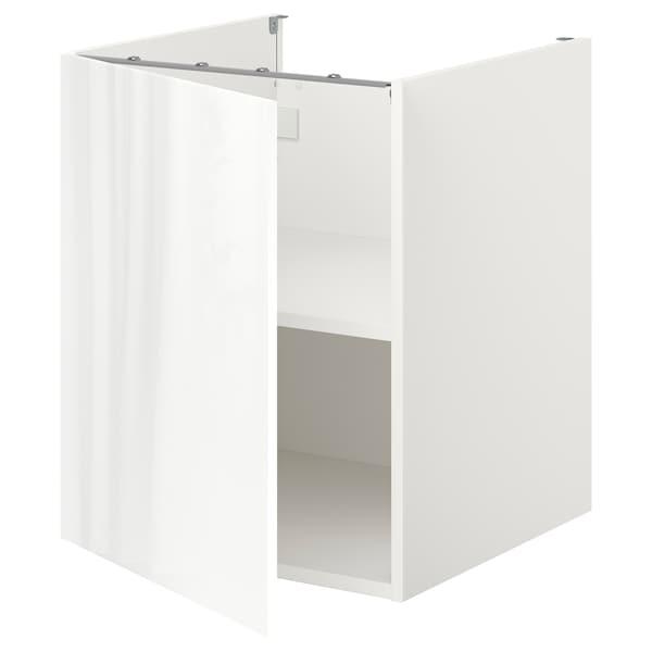 ENHET Bc w shlf/door, white/high-gloss white, 60x60x75 cm