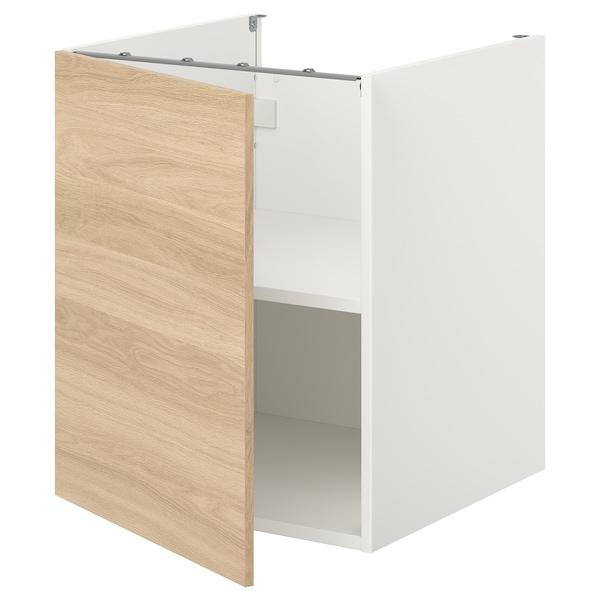 ENHET Bc w shlf/door, white/oak effect, 60x60x75 cm