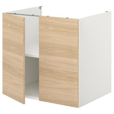 ENHET Bc w shlf/doors, white/oak effect, 80x60x75 cm