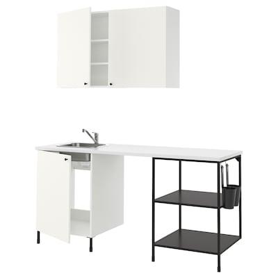 ENHET Kitchen, anthracite/white, 183x63.5x222 cm