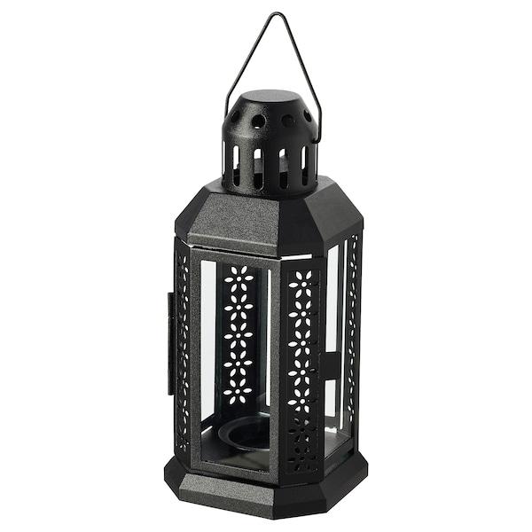 ENRUM Lantern for tealight, in/outdoor, black, 22 cm