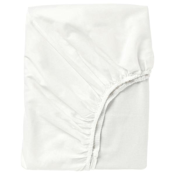 FÄRGMÅRA Fitted sheet, white, Queen