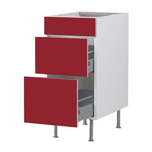 FAKTUM Base cabinet with 3 drawers IKEA Drawers with integrated damper that catches the running drawers so that they close slowly, silently and softly.