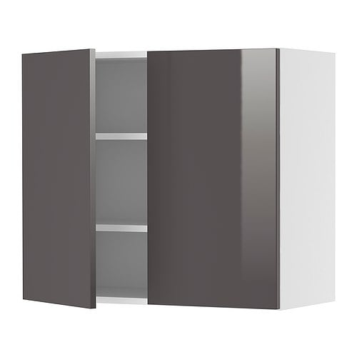 FAKTUM Wall cabinet with 2 doors IKEA You can customise spacing as you need, because the shelf is adjustable.  Sturdy frame construction, 18 mm thick.