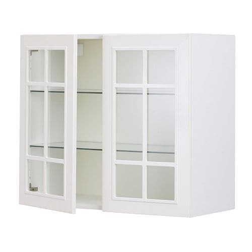 Faktum wall cabinet with 2 glass doors st t off white for Ikea glass door wall cabinet