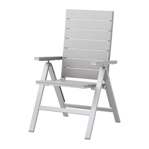 FALSTER Reclining chair outdoor foldable grey IKEA