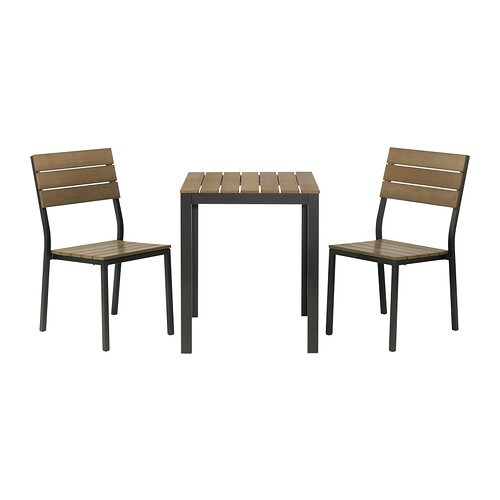 FALSTER Table+2 chairs, outdoor IKEA The polystyrene slats are weather-resistant and easy to care for.