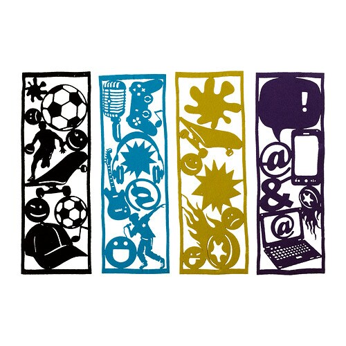 FANTASIRIK Decoration, set of 4 IKEA 4 different textile sheets with pre-punched symbols and figures.  The material is soft, flexible and easy to cut.