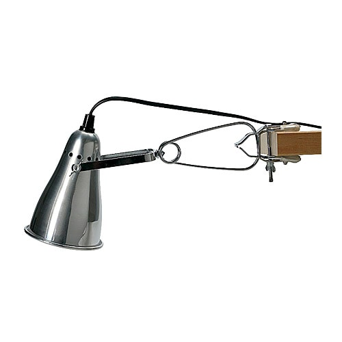 FAS Clamp spotlight IKEA Adjustable head for easy directing of light.