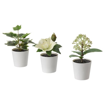 FEJKA Artifi potted plant w pot, set of 3, in/outdoor/green/white, 6 cm