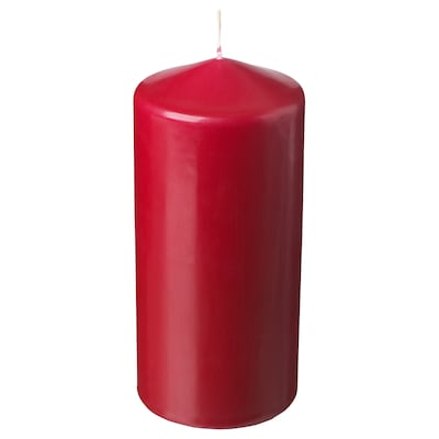 FENOMEN Unscented block candle, red, 15 cm