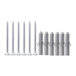 FIXA 12-piece screw and plug set, silver-colour, grey