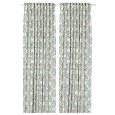 FJÄDERKLINT Curtains, 1 pair, white/green, 145x250 cm