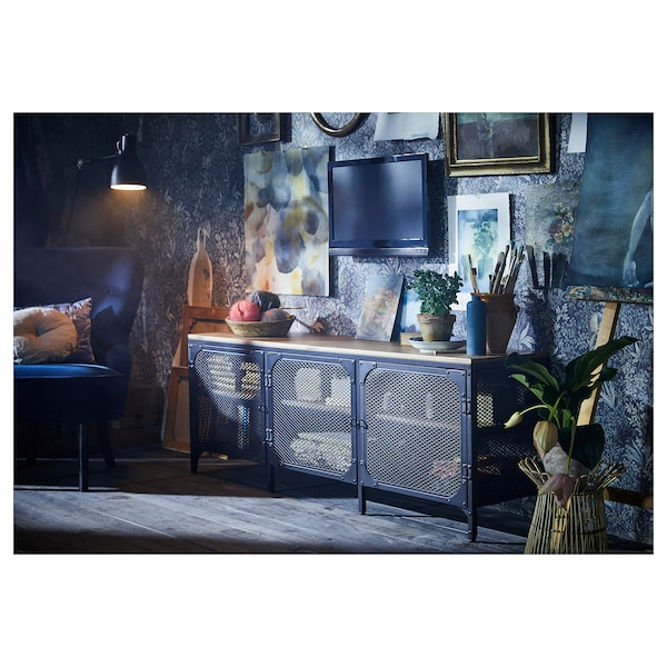 FJÄLLBO TV bench, black, 150x36x54 cm