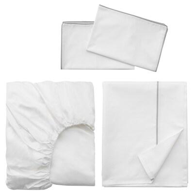 FJÄLLKÅPA 4-piece sheet set, white, Double
