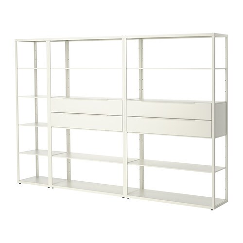 FJÄLKINGE Shelving unit with drawers IKEA The long, slender shelves give the shelving unit a light and airy look.