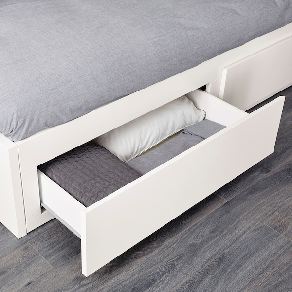 FLEKKE Day-bed frame with 2 drawers, white, Single