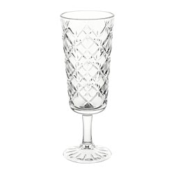 FLIMRA champagne glass, clear glass, patterned