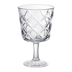 FLIMRA goblet, clear glass, patterned