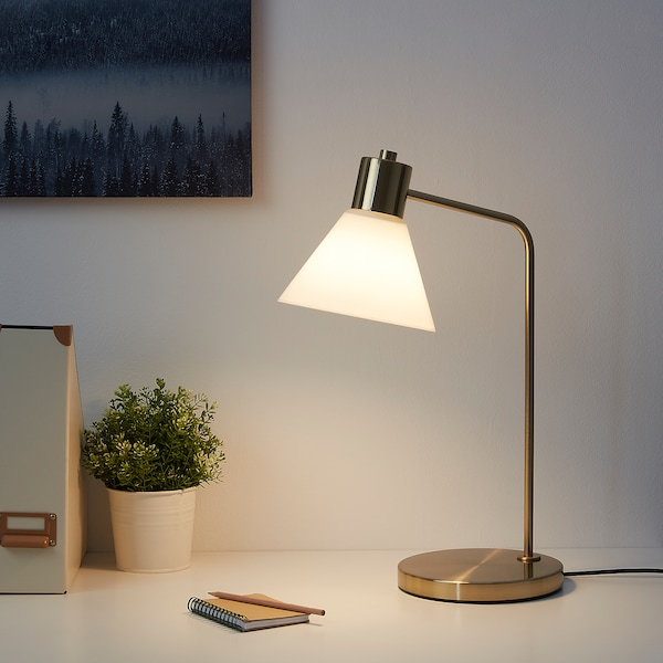 FLUGBO Table lamp, brass-colour/glass