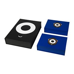 FÖRNYAD box file, set of 3, black, blue