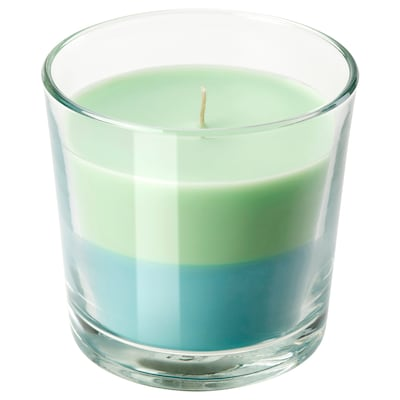 FORTGÅ Scented candle in glass, Lime and mint/green blue, 9 cm
