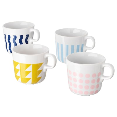 FRAMKALLA mug mixed patterns 8 cm 21 cl 4 pack