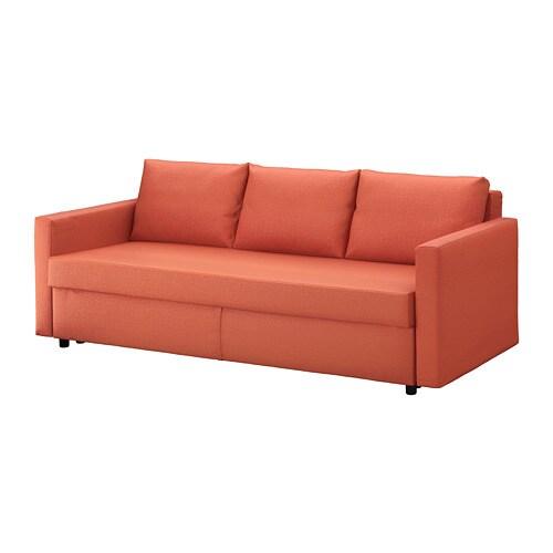 friheten three-seat sofa-bed - skiftebo dark orange