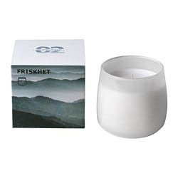 FRISKHET scented candle in glass, Mountain air, grey