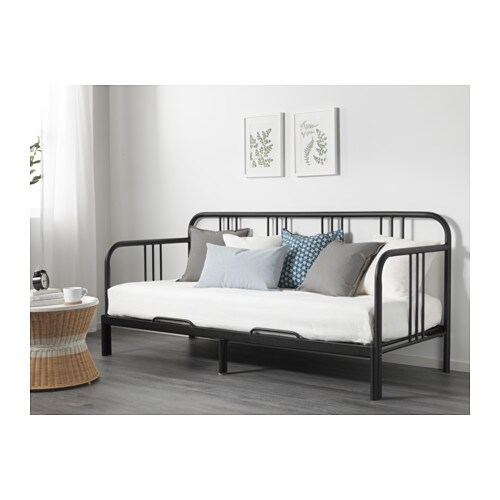 FYRESDAL Day-bed frame IKEA With some fluffy, soft pillows as back support, you easily transform this day-bed into a comfortable sofa or chaise longue.