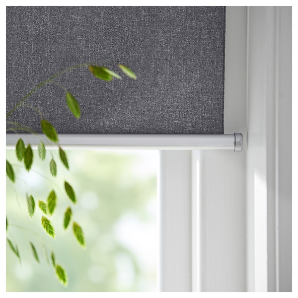 FYRTUR Block-out roller blind, wireless/battery-operated grey, 140x195 cm