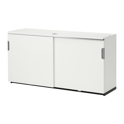 Galant cabinet with sliding doors white ikea for Meuble bas cuisine porte coulissante