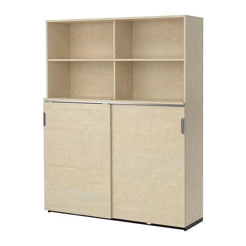 GALANT Storage combination w sliding doors - birch veneer - IKEA