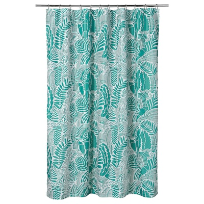 GATKAMOMILL Shower curtain, turquoise/white, 180x200 cm