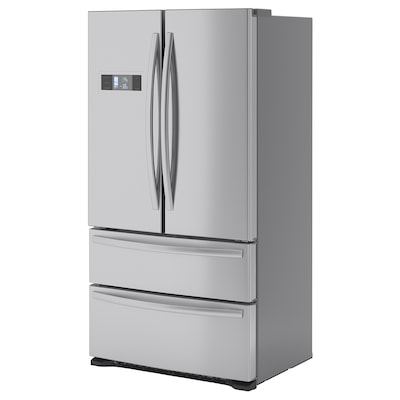 GENOMKYLD French door fridge/freezer, stainless steel, 422/120 l