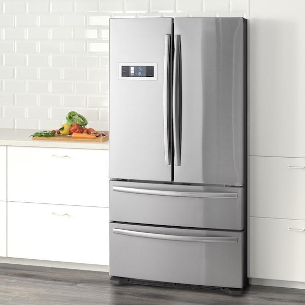 GENOMKYLD French door fridge/freezer, stainless steel, 422/120 l