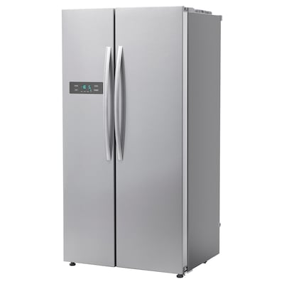 GENOMKYLD Side-by-side fridge/freezer, stainless steel colour, 344/183 l