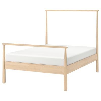 GJÖRA Bed frame, birch/Luröy, Queen