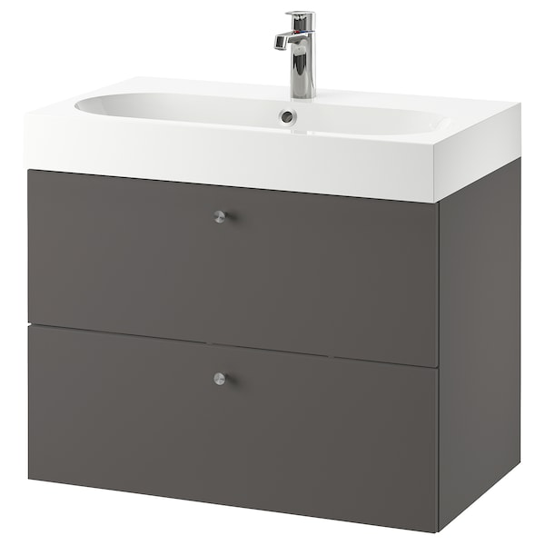 GODMORGON / BRÅVIKEN Wash-stand with 2 drawers, Gillburen dark grey/Brogrund tap, 80x48x68 cm